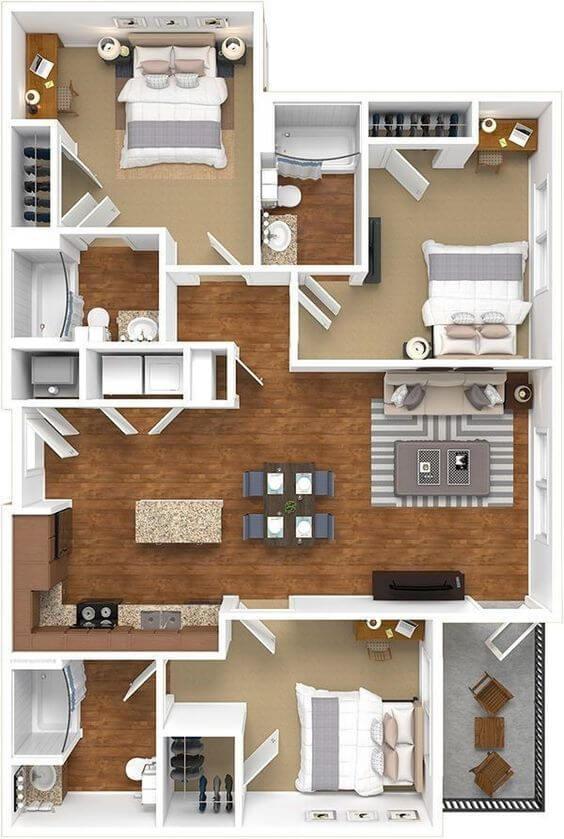 Desain Rumah 9x6 3 kamar 2D
