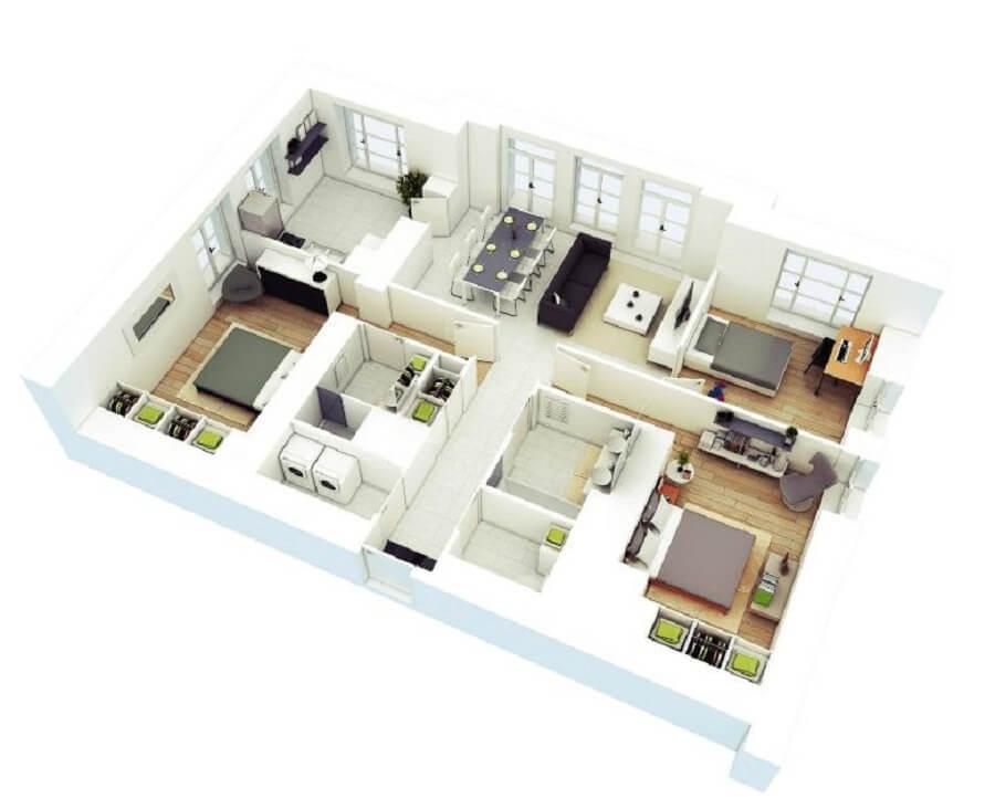 Desain rumah 6x9 3 kamar tidur