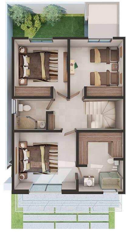 Desain Rumah Ukuran 6x9 3 Kamar Tidur Modern dan Unik