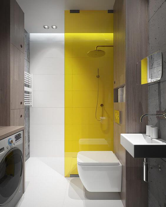 Desain Kamar Mandi Minimalis dengan Warna Dinding Kuning
