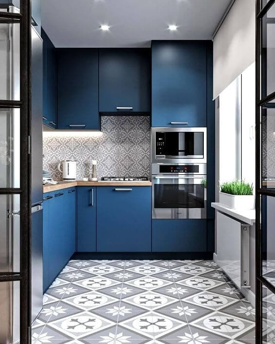 Model Dapur Minimalis dengan Warna Cat Tembok Biru