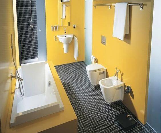 Ide Desain Kamar Mandi Minimalis 2X3 Meter Warna Kuning