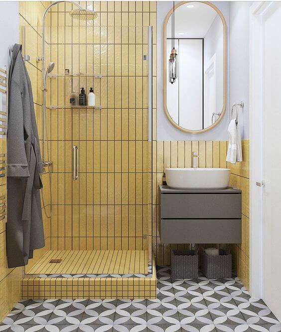Kamar Mandi Minimalis Sederhana dengan Warna Menarik
