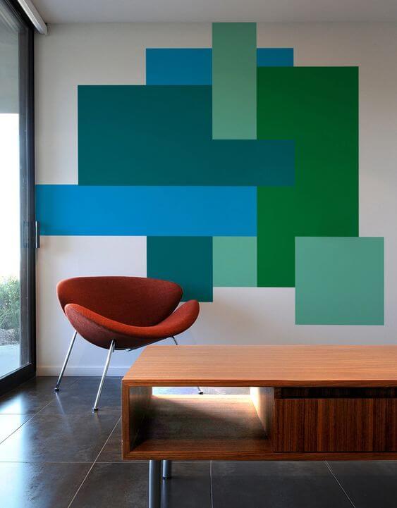 Desain Dinding Unik dengan Motif Cat Geometris