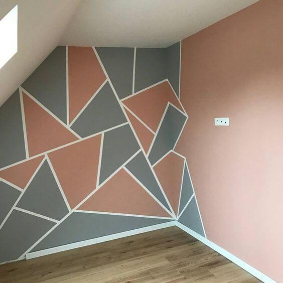 Tenik dan Cara Mengecat Tembok Geometris Unik