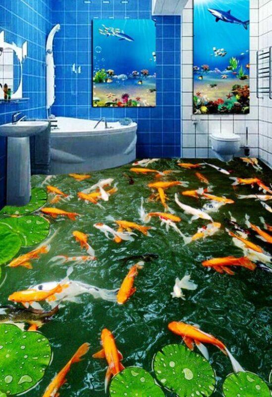 Model Kamar Mandi Unik dengan Motif Lantai Bergambar Kolam Ikan