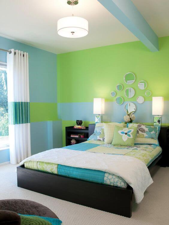 Dekor kamar tidur sederhana hijau cool