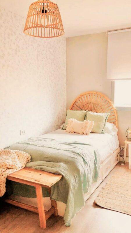 Dekor kamar tidur sederhana hijau