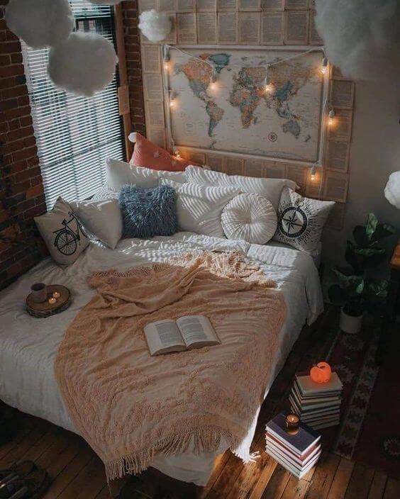 Dekor kamar tidur sederhana lukisan dunia