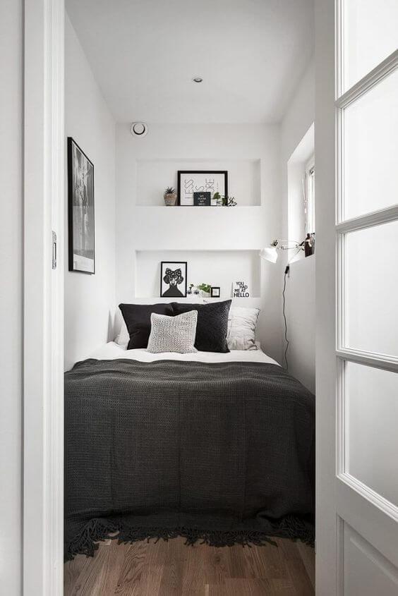 Dekor kamar tidur sederhana unik monokrom