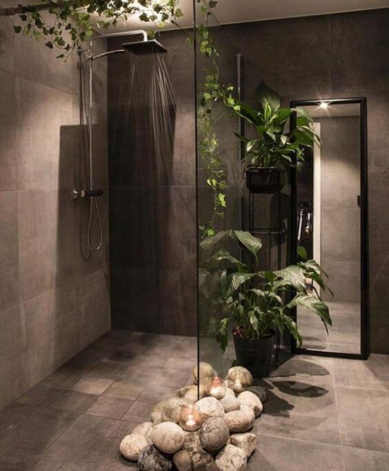 Dekorasi Kamar Mandi Dengan Nuansa Alam Dengan Batu Tumbuhan