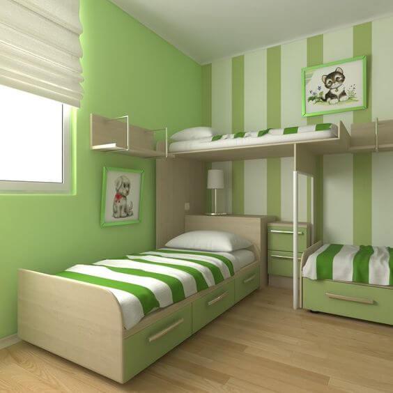 Dekorasi Kamar Tidur Sempit hijau 1