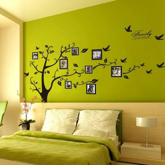 Dekorasi Kamar Tidur Sempit hijau walpaper