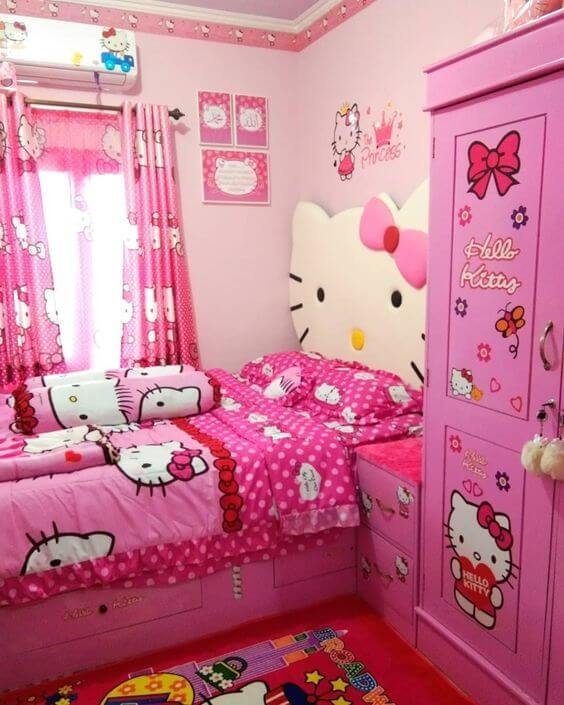 Dekorasi Kamar Tidur Sempit pink anak2