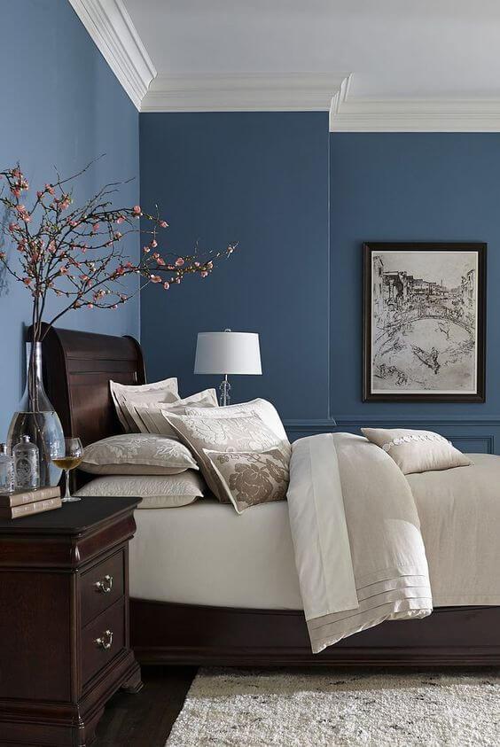 Warna Kamar Tidur Yang Menenangkan megah Biru coklat putih