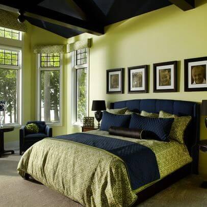 Warna Kamar Tidur Yang Menenangkan megah hijau-navy