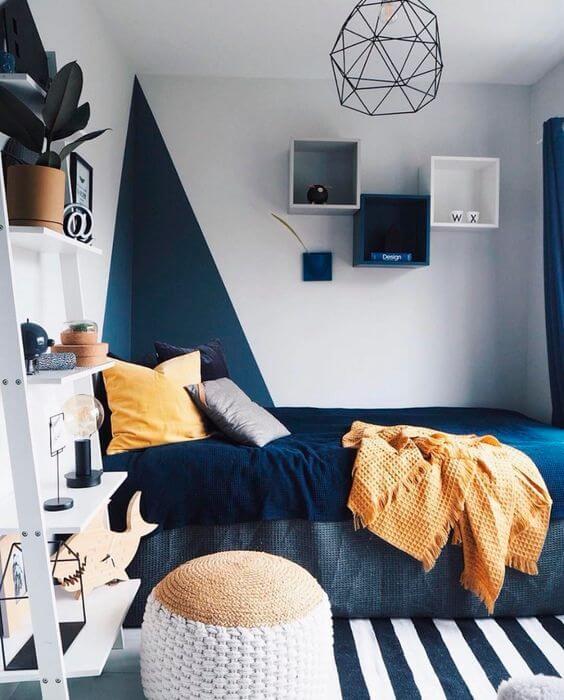 Warna Kamar Tidur Yang kombinasi biru-putih