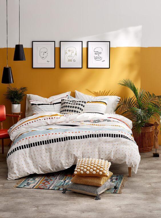 Warna Kamar Tidur Yang kombinasi kuning-putih