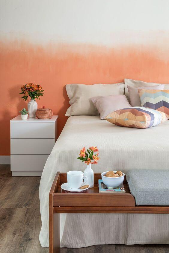 Warna Kamar Tidur Yang kombinasi orange-putih