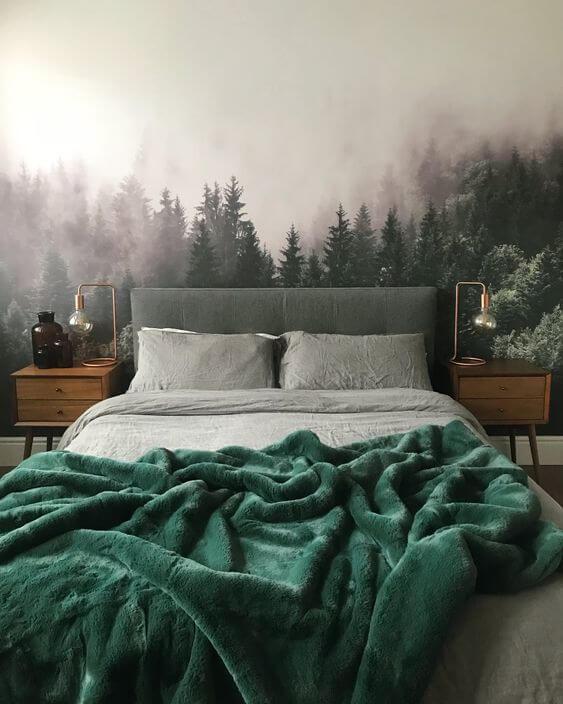 Warna cat kamar tidur romantis Unik mural