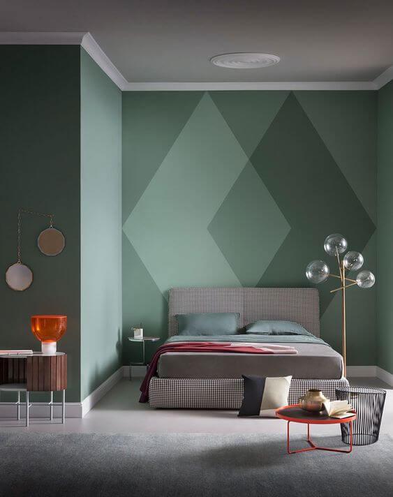 kombinasi Warna cat kamar tidur romantis-Hijau-hijau