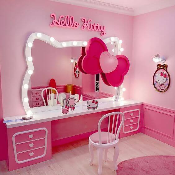 Dekorasi Kamar Tidur Anak Perempuan Hello Kitty Cermin