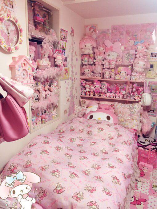 Dekorasi Kamar Tidur Anak Perempuan Hello Kitty Full