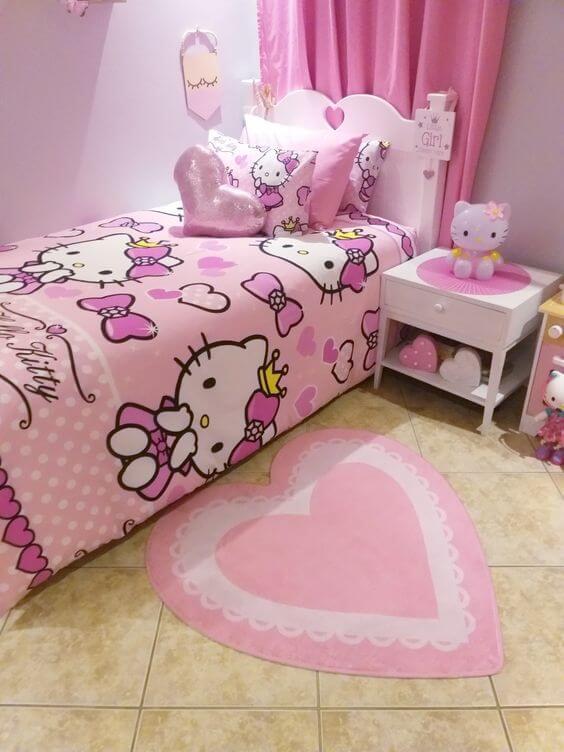 Dekorasi Kamar Tidur Anak Perempuan Hello Kitty Pink