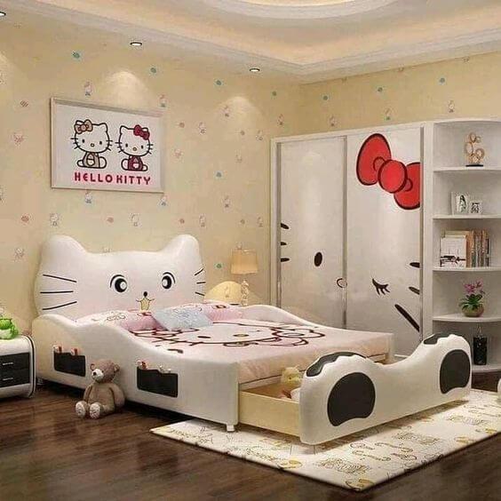 Dekorasi Kamar Tidur Anak Perempuan Hello Kitty Putih