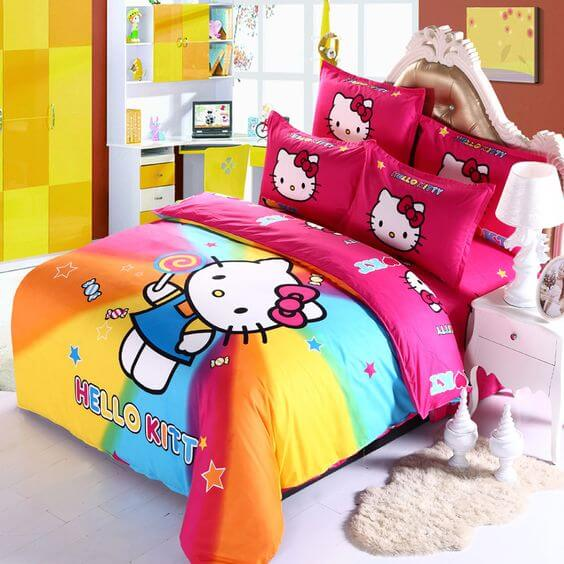 Dekorasi Kamar Tidur Anak Perempuan Hello Kitty pelangi