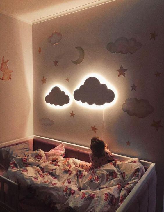 Dekorasi Kamar Tidur Anak Perempuan Unik Lampu dinding