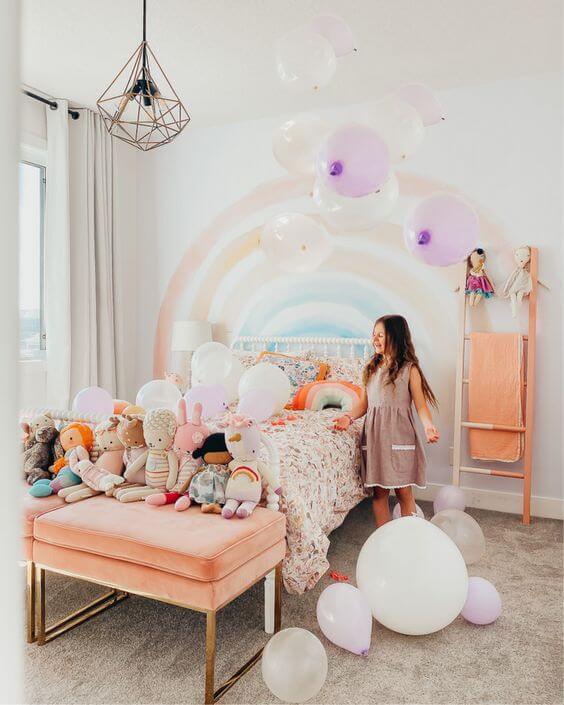 Desain Kamar Anak Perempuan Kekinian pelangi