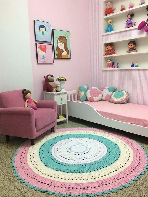 Desain Kamar Anak Perempuan Minimalis Karpet Bulat