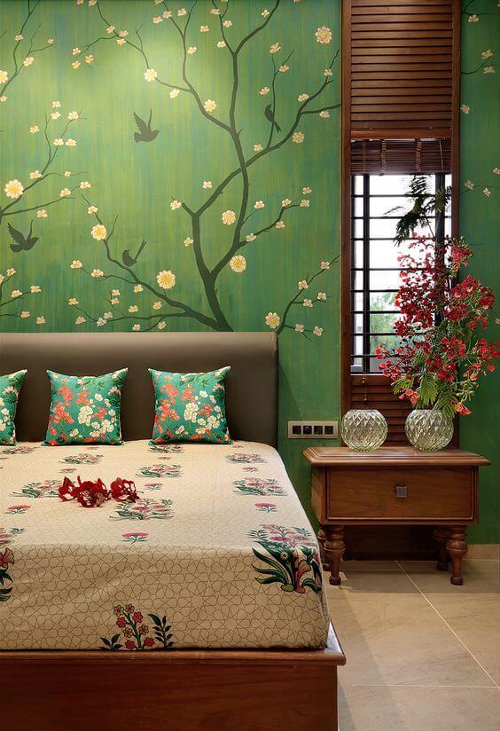 Cara menghias kamar tidur bunga - decal